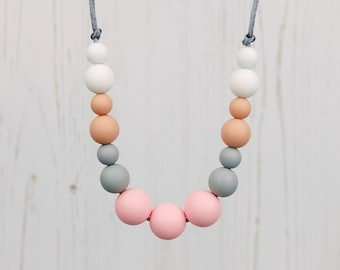 Silicone Teething Jewellery, Pastel Necklace, Breastfeeding Necklace, Teether, Fiddling Beads, Mother's Day, New Mum Gift, Baby Shower Gift