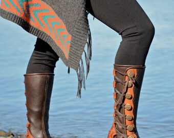 Women's Moccasin Boots - Knee High Boots - Boho - Beach - Custom Moccasins - Earth - Women's Boots -  Fairy Moccasins - Forest Pixie Boots