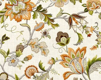 Custom Pillow Cover / Brissac by P Kaufmann in Amber / Floral / Both Sides / Made to Order