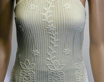 Cream Lace Vest Top