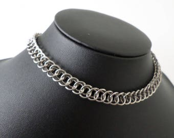 Solid Stainless Steel Half-Persian Chainmail Choker Necklace - Minimalist Discrete Metal Day Collar