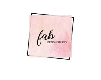 Premade logo, photography logo, business logo, watercolor logo, pink logo, feminine logo design, square logo, blog logo kit, blog branding