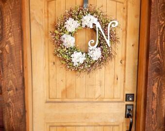 Summer Wreath-Housewarming Gift-Wedding Decor-Cottage Chic-Hydrangea Door Wreath-Shabby Chic Decor-Gift for Mom-Wedding Gift-Weddings