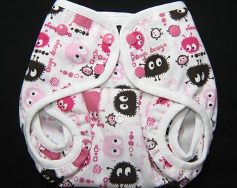 One Size Cloth Diaper Cover,  Girl Diaper Cover, Ooga Booga PUL Foe Diaper Cover,  OS Gusseted Diaper Cover with Tuck in Facings