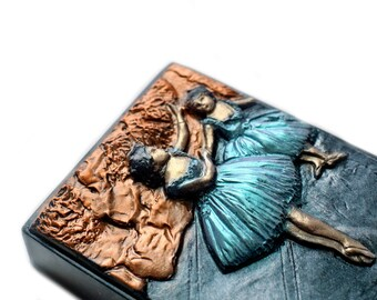 Two Dancers on a Stage Soap Bar in Metallic Colors / Ballerina Soap