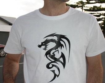 Men's T-shirt, dragon,tribal, animal,tattoo,white,cotton, best design, Great gift idea for men