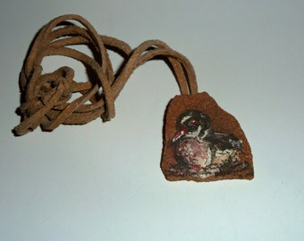 Mallard Duck Stone Necklace - Original watercolor painting on flagstone