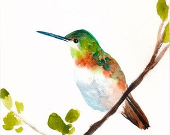 Bird Print - Living Room Wall Decor - Watercolor Art - Hummingbird - 11x14 Giclee Print