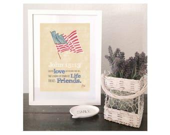 American Flag Printable Bible Verse Art John 15:13