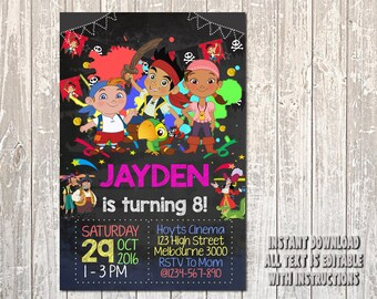 Jake and The Neverland Invitation, Jake Invitation, Jake and The Neverland Birthday, Jake Birthday, Jake Party, The Neverland, Girl_BS065