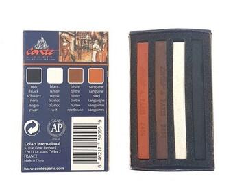 Conté Crayons x 4 Vivid Colours: Box contains black, white, bistre, sanguine.