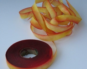 Silk Ribbon, Hand Dyed, bias-cut