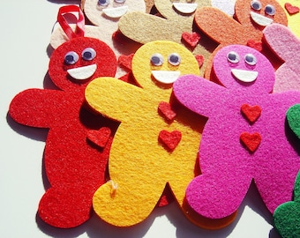 6 Piece Die Cut Thick Felt Large Gingerbread Man - Colorful DIY Kit - Mixed Color