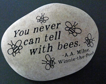 Bees Engraved Garden Stone A.A. Milne Quote From Winnie The Pooh