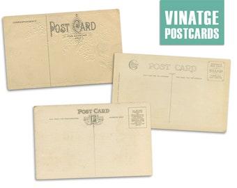 SALE * Vintage Postcard Clipart. Digital Scrapbooking Printable for Crafting. Postcard Back.