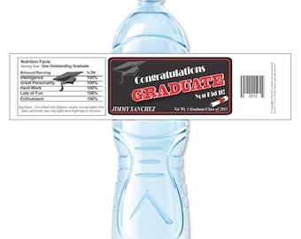 Graduation Party Labels, Water Bottle Labels, Graduation Labels, Custom Labels, Graduation Water Labels, high school (Set of 24)(Y555)