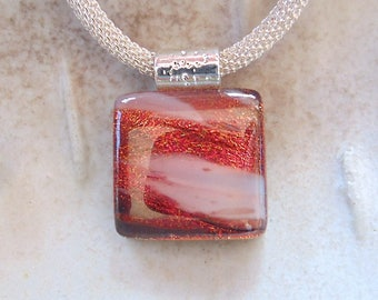 Petite, Dichroic Glass Pendant, Fused Glass Jewelry, Necklace, White, Copper, Necklace Included, A10