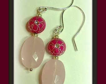 Hot Pink and Rose Quartz dangle earrings