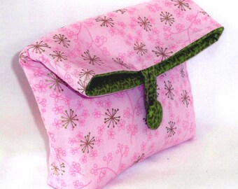 Pink Cosmetic Bag, Makeup Bag, Purse Organizer, Clutch Purse, Small Cloth Purse, Handmade Bag, Toiletry Bag, Flowers, Stars