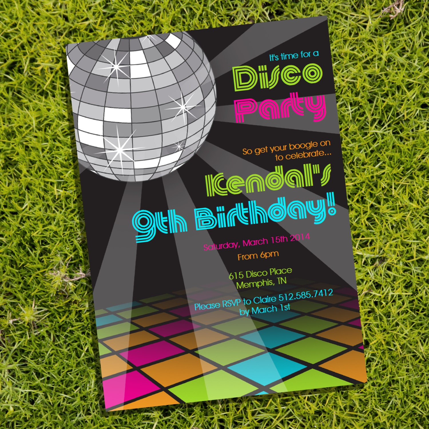 Disco Party Theme Invitation Instantly Downloadable and