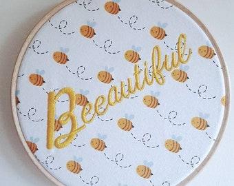 Beeautiful wall dècor, bee wall art, embroidered wall dècor, nursery decor