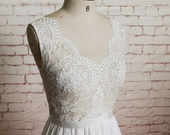Sheer Ivory Lace Bodice Wedding Dress with A-line Chiffon Skirt