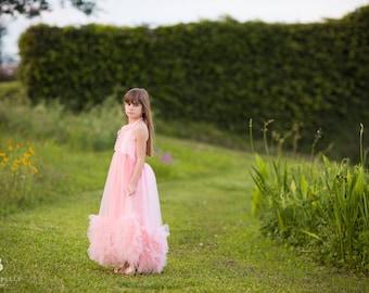 Pink Flower Girl Tulle Dress, Boho Rustic Tulle Dress Girls Toddlers, Junior Bridesmaid Dress, Bohemian Dress, Princess Dress, Lillianna