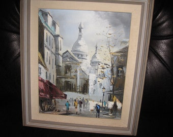"VINTAGE PARIS STREET Scene Impasto Oil On Canvas Montmartre On Canvas Stretcher Frame Grey Wood Frame 12"" x 14"" Fall Or Winter Scene Signed"