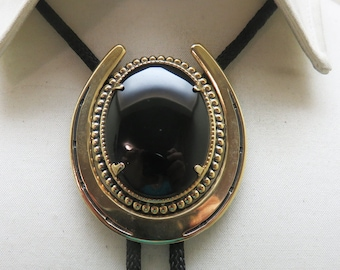 1980's Big Bold and Beautiful Black Onyx Horse Shoe Shaped Bolo Tie