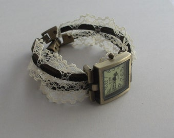 Two times leather wrap around watch with lace, leather wrap around watch, leather wrap watch,square watch with leather cord two times around