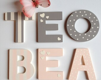 Hand-carved wooden letters