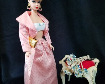 Vintage Pink Sparkle/Glitter Jacket and Skirt for Barbie and Friends plus Accessories