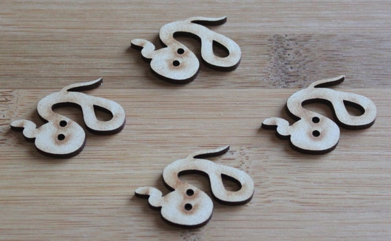6 Craft Wood Snake buttons, 3.7 cm Wide, Laser Cut