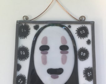 No-Face/Kaonashi Fused Glass Sun Catcher or Wall Hanging