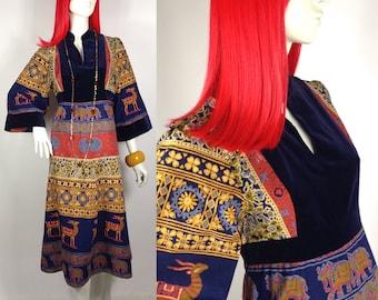 Vintage 1960s Indian Cotton & velvet midi dress by Jon Adam / 70s Hippie / Made in England / Folk