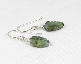 African Turquoise Leaf and Sterling Silver Earrings