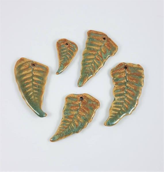 Handmade Pottery - Ceramic Focal Beads - Ceramic Pendants - Fern Pendants - Stoneware - Set of 5 - Artisan Pendants - Jewelry Supplies
