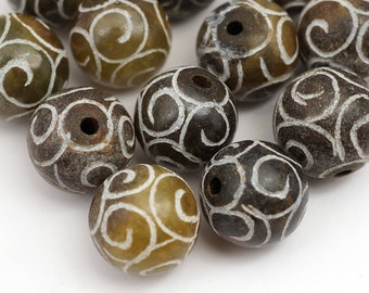 12 pcs spiral stone beads, multicolor soo chow jade semiprecious 13mm 14mm 15mm