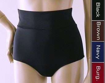 Ultra High Waisted Bikini Bottom in Black, Navy, Burgundy, or Brown in S-M-L-XL