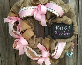 Baby Girl Burlap Wreath-Baby Wreath-Baby Gift-Baby Shower Gift-Pink Wreath-GIft for Girl-Baby Shower-