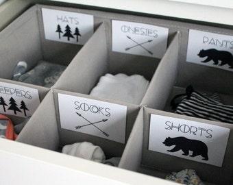 Adventure Printable Baby Nursery Drawer Labels / Basket Labels - print yourself - Baby Girl, Baby Boy, Nursery Decor, Nursery Organization