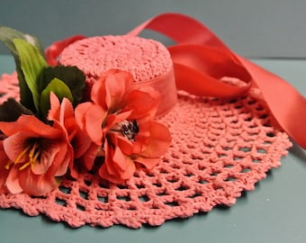 Swedish vintage 1970s HANDMADE crochet pink cotton thread hat decoration wallhanging with satin flowers and bands