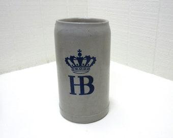 Vintage German Beer Stein HOFBRAUHAUS HB HOFBRAU Salt Stoneware Glazed 1 L Mug