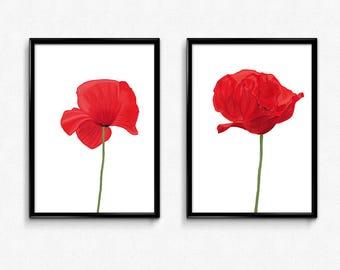 Poppy Flower Print, Flower Wall Art, Red Poppy Flower, Botanical Print, Kitchen Wall Art, Living Room Wall Art, Set of 2, Flower Print