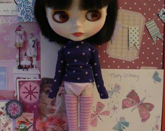 Light Pink and Pink stripe socks for Blythe dolls  Blythe clothes handmade in Paris France