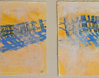 2 Fence Collages- Yellow| Blue- Original Assemblage Paintings - 30x11- Diptych-  Horizontal