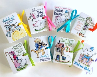 Mother Goose Party Favors | Nursery Rhyme Boxes | Birthday Boy Girl | Baby Shower | Mini Treat Goodie Box Favors | Personalized Custom 60