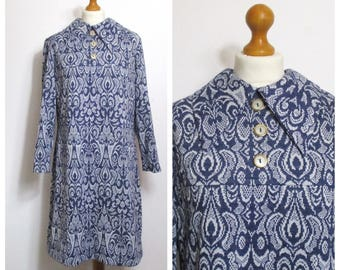 Vintage 70s Blue and White Mod Indie Scooter Dress - L XL