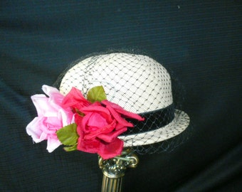 Vintage White Straw Bowler Style Hat w/Black Netting-Small