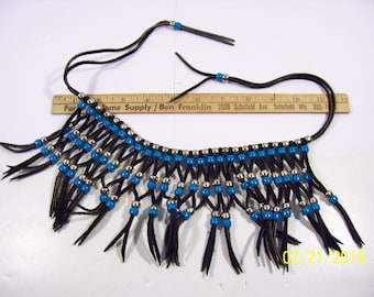 Nice Western / Native American Style Leather and Bead Work Necklace